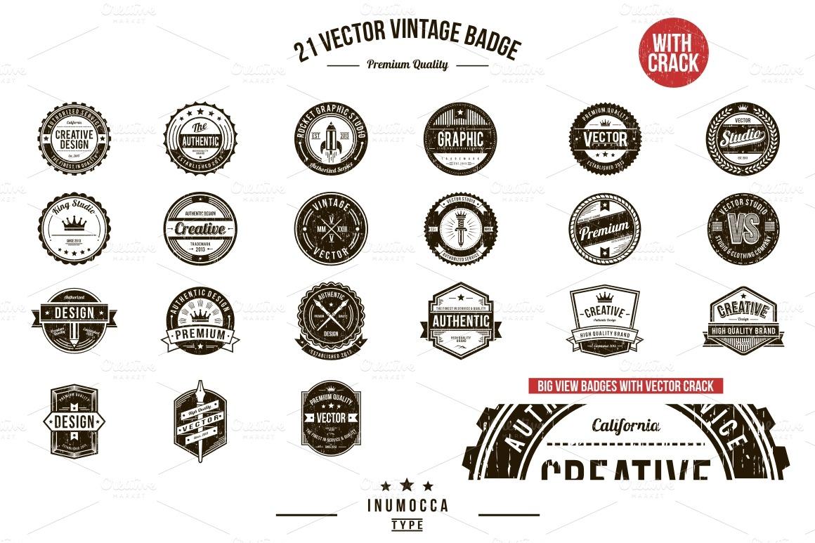 21 Vintage Badges Inu Mocca