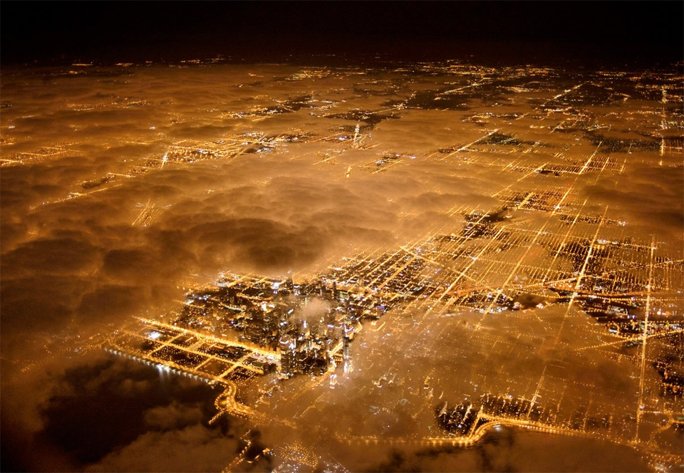 Aerial Of Chicago At Night With Fog By Jim Richardson