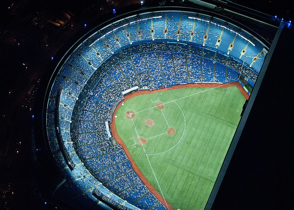 Aerial View Of Rogers Center At Night, Toronto By Brett Caltabiano