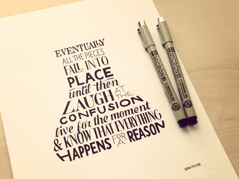 eventually all the pieces fall into place1 Astonishing Hand Lettering by Sean McCabe