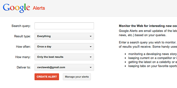 google alerts 10 Powerful Tools To Spy On Your Competitors