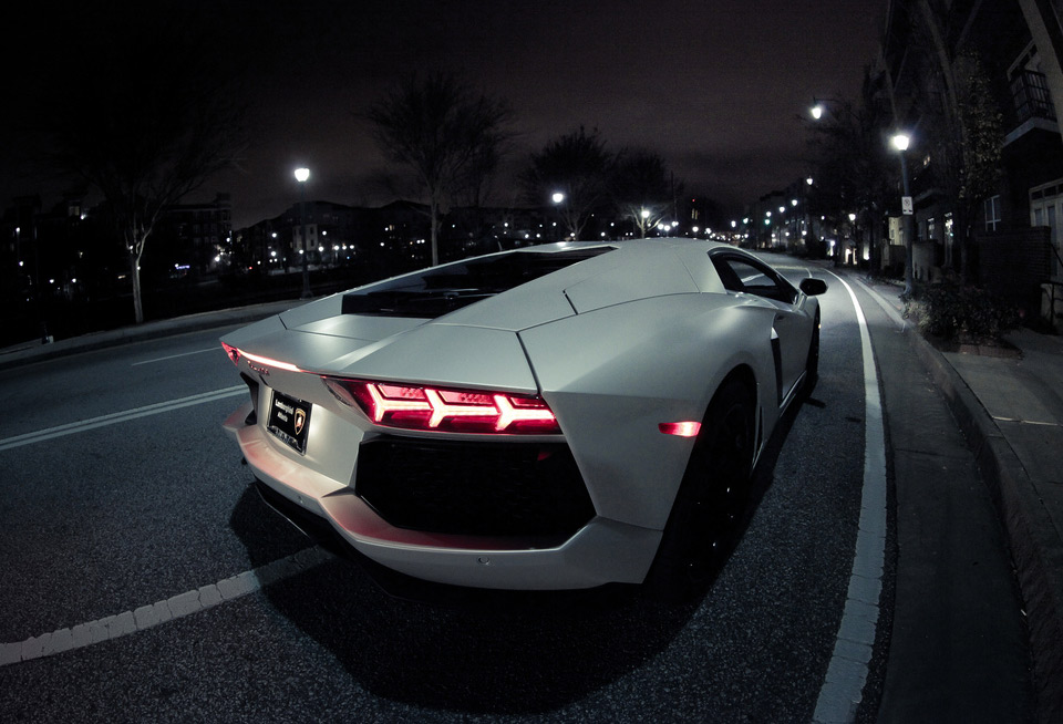Lamborghini Aventador At Night By Basheer Tome