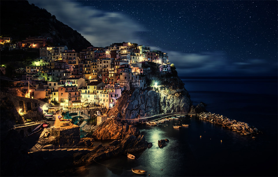 Manarola At Night, Italy By Dominic Kamp