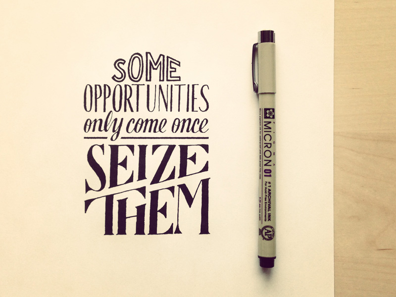 some opportunities only come once1 Astonishing Hand Lettering by Sean McCabe