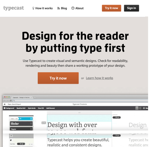Design in the browser with web fonts and real content - Typecast (20140704)