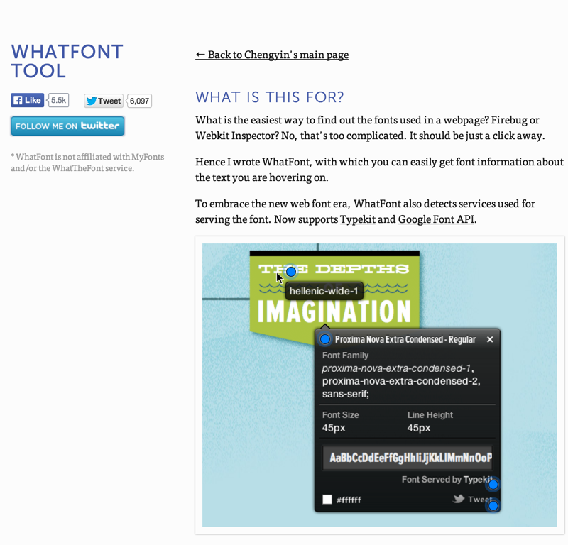 WhatFont Tool - The easiest way to inspect fonts in webpages « Chengyin Liu (20140704)