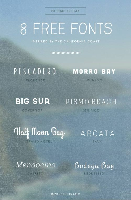 8 Free Fonts by June Letters