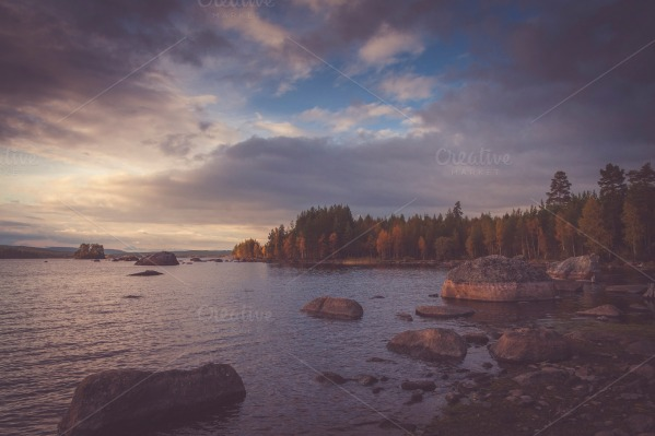 Lake before dusk by Wim