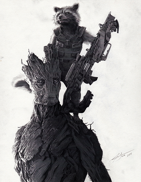 Rocket Raccoon & Groot by Julio Lucas