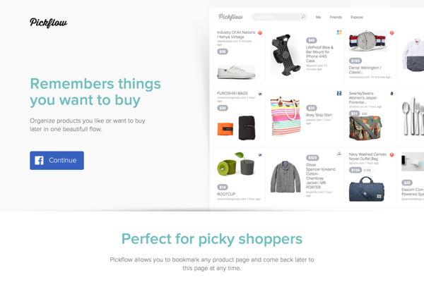 Pickflow. Save and share products you like or want to buy later. (20141027)