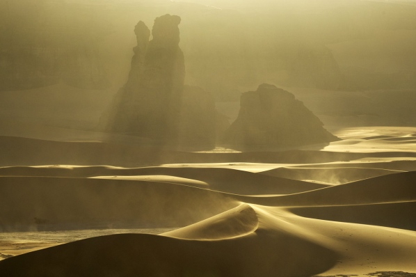 Sandstorm in the Sahara, at Mounlaga Dunes, Algeria by Alexey Kharitonov