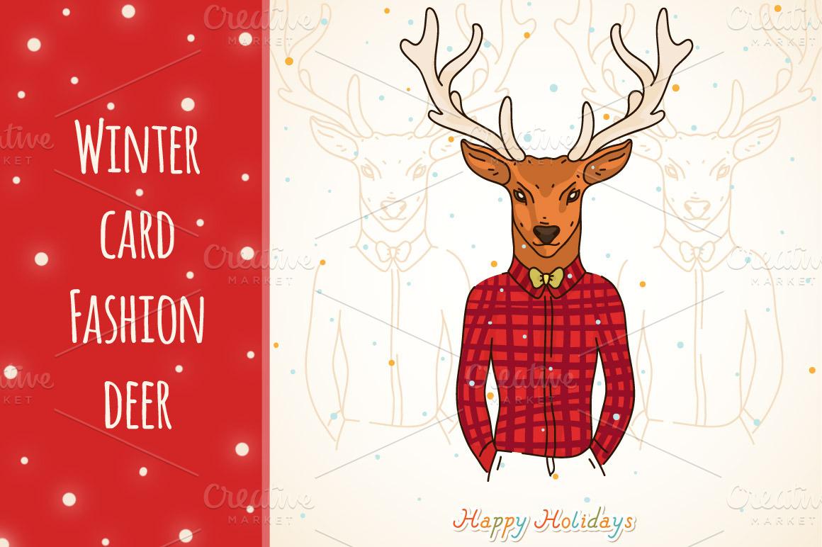 Winter card, Fashion deer