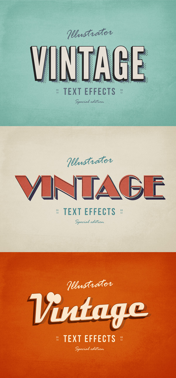 3 illustrator vintage text effects 750+ Free Photoshop Layer Styles
